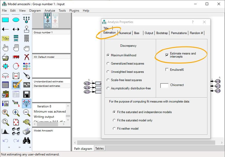 تنظیمات تحلیل بیزی در AMOS