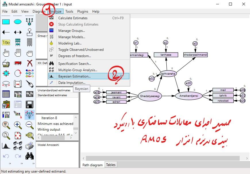 دستور انجام تحلیل بیزی در AMOS
