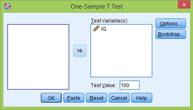 پنجره آزمون تی تک نمونه ای در SPSS