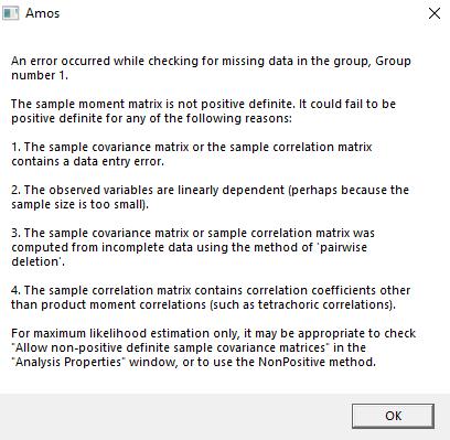 علت اجرا نشدن مدل در AMOS